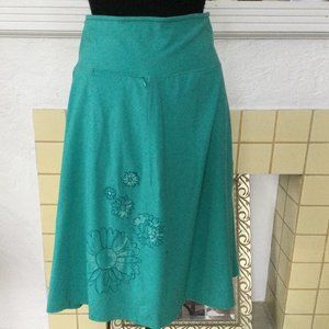 Life is Good Teal Embroidered Aline Skirt Stretchy